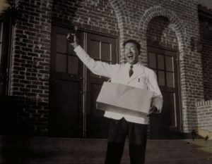 Julian Samora selling concessions to support himself during his freshman year at Adams State Teachers College, 1938.